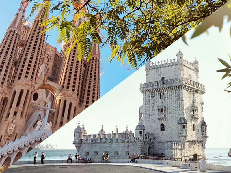 španjolski i portugalski poznati prizori, dvije zgrade na dijagonalno podijeljenoj slici