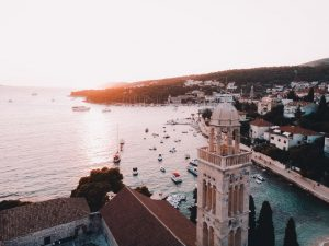 sunset above the sea in split in croatia related to common croatian phrases